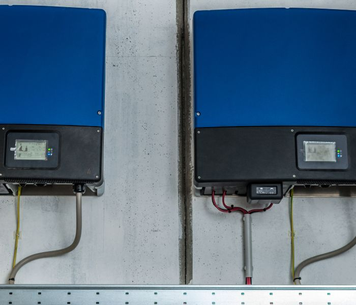 Solar energy inverter boxes on a CT structure.